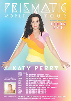 Katy Perry - 2014 Prismatic UK Tour Poster