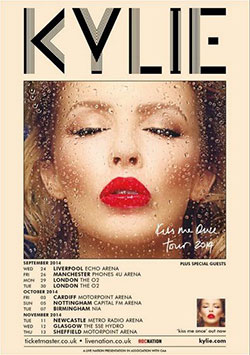 Kylie Minogue 2014 Kiss Me Once UK Tour Poster