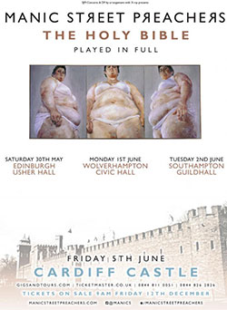 Manic Street Preachers - The Holy Bible - 2015 UK Tour Poster