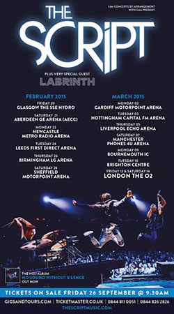 The Script 2015 UK Arena Tour Poster